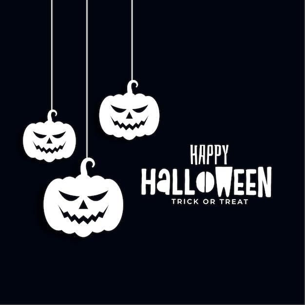 Bannière D'halloween Heureux Avec Des Citrouilles Suspendues Effrayantes Vecteur gratuit