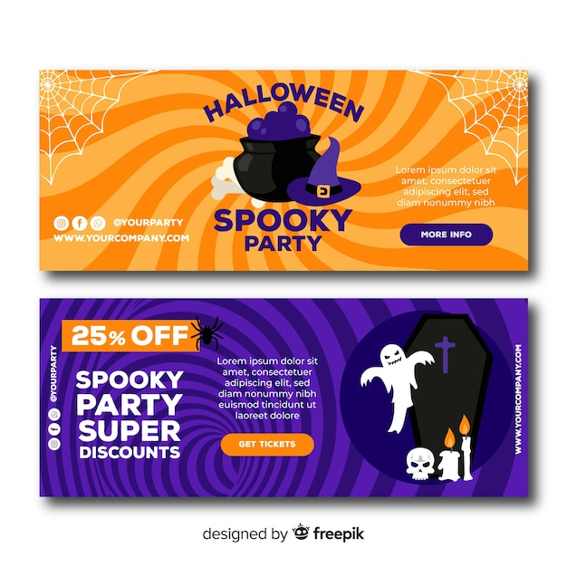 Bannière halloween pour les sites en ligne Vecteur gratuit