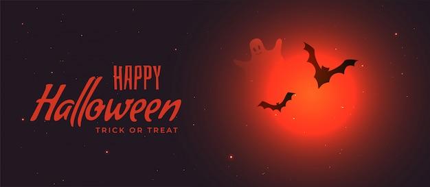 Bannière d'halloween spooky avec lune rouge et chauves-souris volantes Vecteur gratuit
