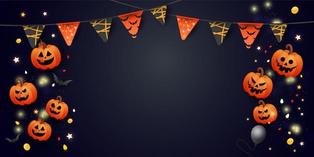 Bannière D'halloween Avec Symboles Citrouille, Guirlandes Colorées Et Bonbons Sur Fond Sombre Dégradé. Vecteur Premium