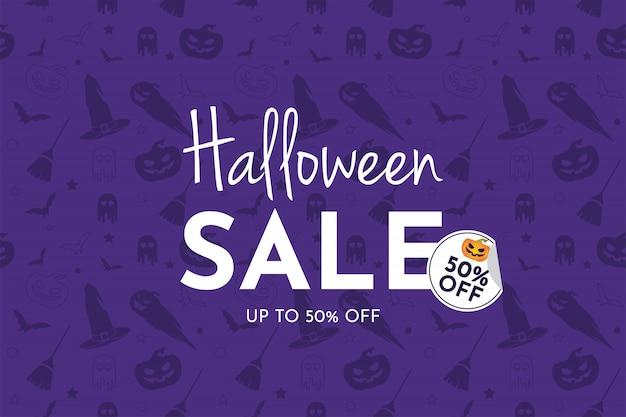 Bannière Halloween Vente Avec Citrouille, Chapeau De Sorcière, Balai, Fantôme Et Chauve-souris Vecteur Premium