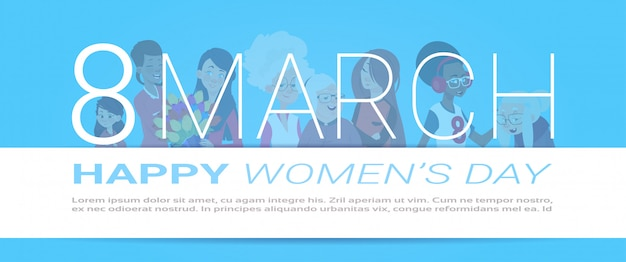 Bannière heureuse de la journée internationale des femmes avec des silhouettes féminines sur fond de modèle avec espace de copie Vecteur Premium