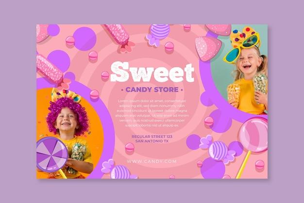 Bannière Horizontale De Bonbons Avec Enfant Vecteur gratuit