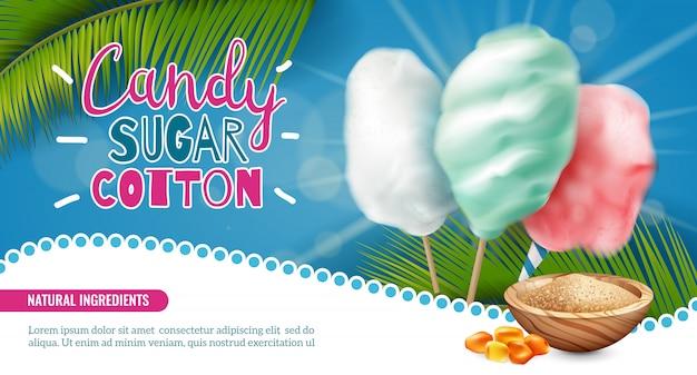 Bannière Horizontale De Coton Sucre Candy Réaliste Avec Texte Modifiable Et Images De Bonbons De Feuilles De Palmier Vector Illustration Vecteur gratuit