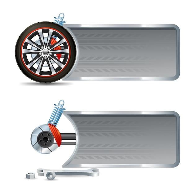 Bannière horizontale de course sertie de roues réaliste pneu et réparation de voiture éléments isolés illustration vectorielle Vecteur gratuit