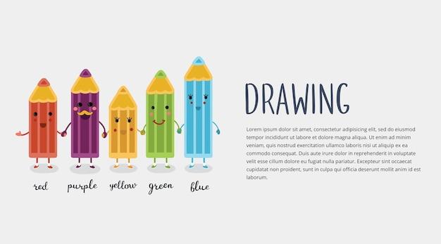 Bannière Horizontale Avec Des Crayons De Couleur De Personnages Mignons De Dessin Animé Avec Des Visages Souriants; Vecteur Premium