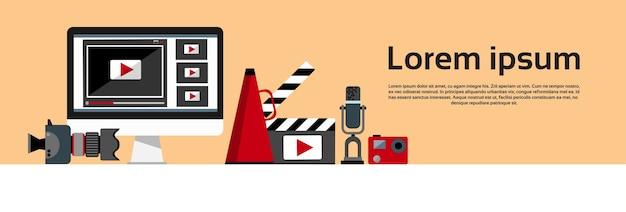 Bannière horizontale du concept de blog vidéo Vecteur Premium