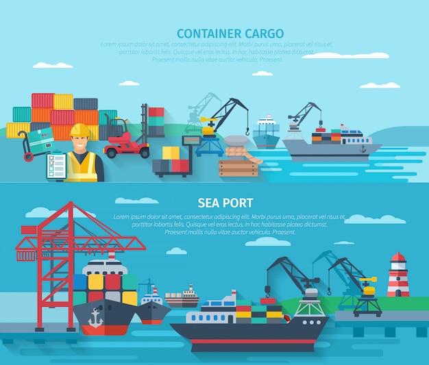 Bannière horizontale du port de mer sertie d'éléments de chargement de conteneurs à plat Vecteur gratuit