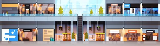 Bannière horizontale intérieure grand centre commercial, magasin de détail moderne Vecteur Premium