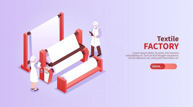 Bannière Horizontale Isométrique Avec Des Travailleurs De L'usine Textile Et De L'équipement 3d Vecteur gratuit