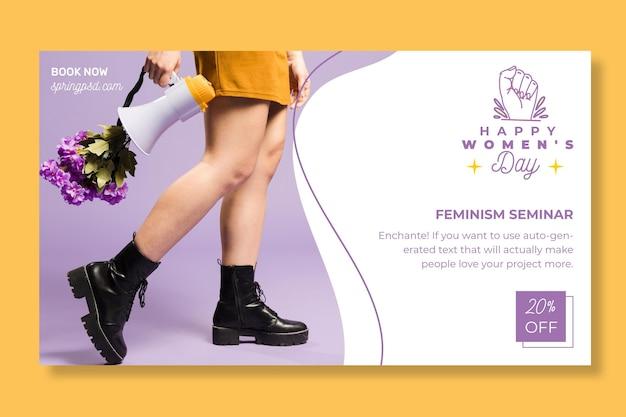 Bannière Horizontale De La Journée Internationale De La Femme Vecteur gratuit