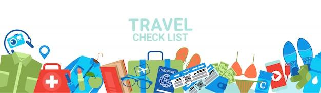 Bannière horizontale de la liste de contrôle de voyage. concept de planification d'emballage Vecteur Premium