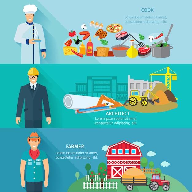 Bannière horizontale de profession sertie d'avatars d'architecte paysan cuisinier Vecteur gratuit