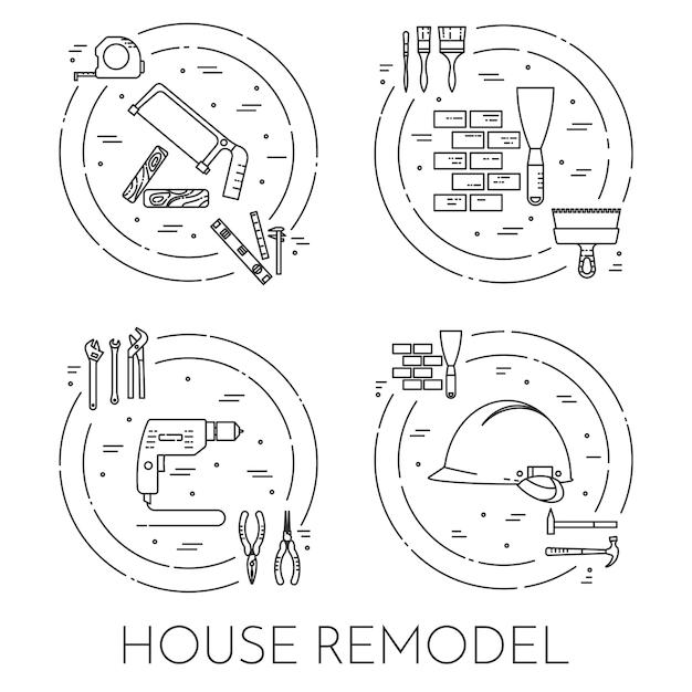 Bannière horizontale de remodelage de la maison. elément pour entreprise de réparation, construction ou rénovation. Vecteur Premium