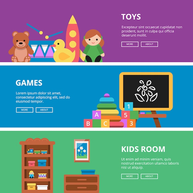 Bannière horizontale sertie de jouets pour enfants Vecteur Premium