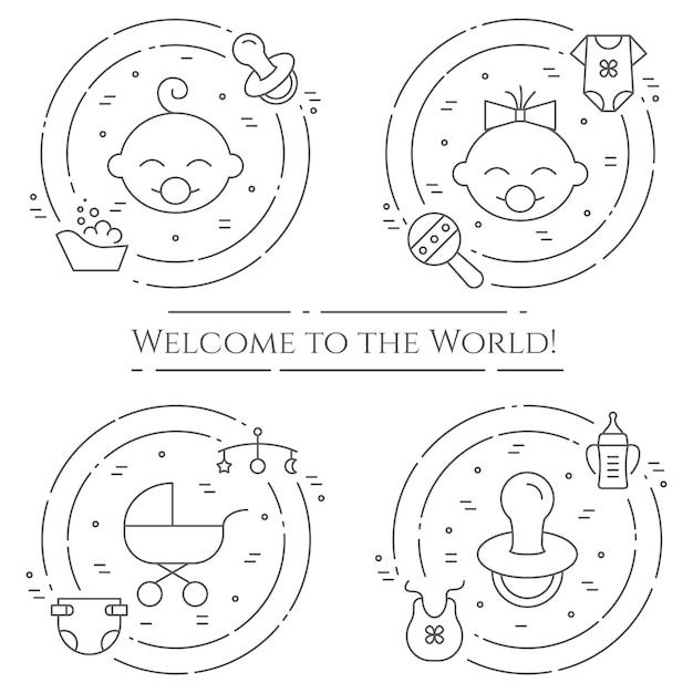 Bannière horizontale thème bébé Vecteur Premium