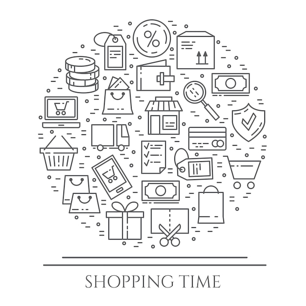 Bannière horizontale thème shopping Vecteur Premium
