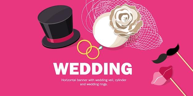 Bannière horizontale avec voile de mariage, cylindre et alliances. Vecteur Premium