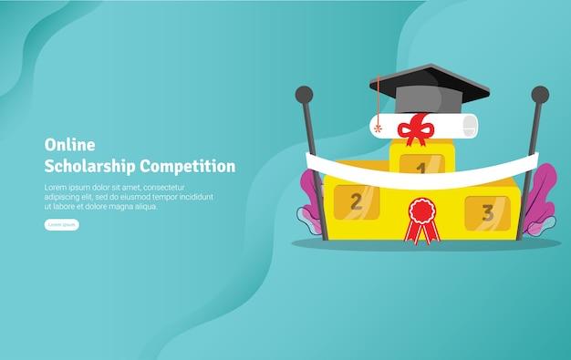 Bannière d'illustration du concours de bourses d'études en ligne Vecteur Premium