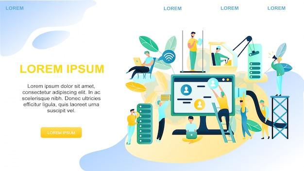 Bannière illustration personnel support technique Vecteur Premium