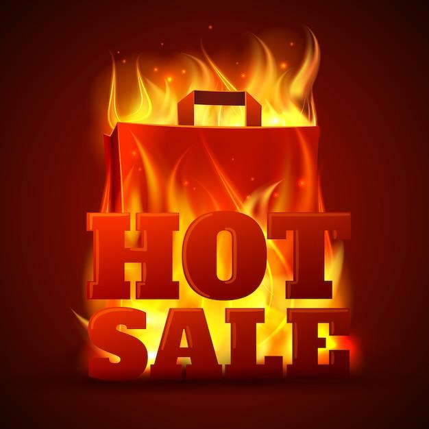 Bannière incendie vente chaude Vecteur gratuit