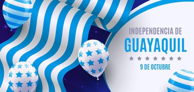 Bannière Indépendante De Guayaquil Réaliste Vecteur gratuit