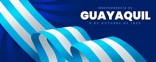 Bannière Indépendante De Guayaquil Réaliste Vecteur Premium