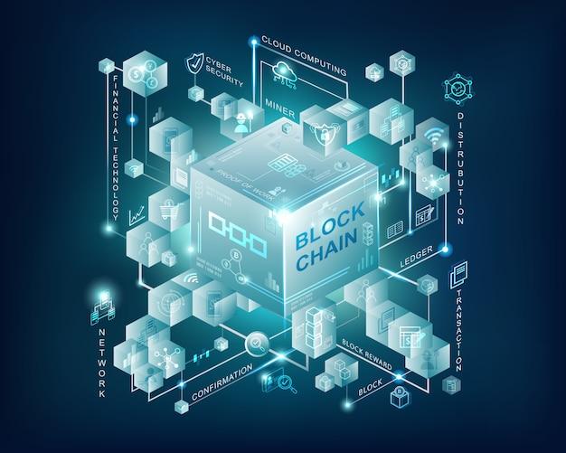 Bannière infographique de technologie blockchain avec fond bleu foncé Vecteur Premium