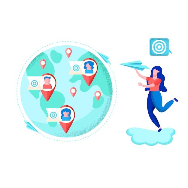Bannière informative développement email route flat. Vecteur Premium