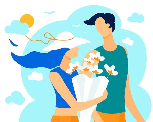 Bannière informative d'été pour l'amour du couple Vecteur Premium