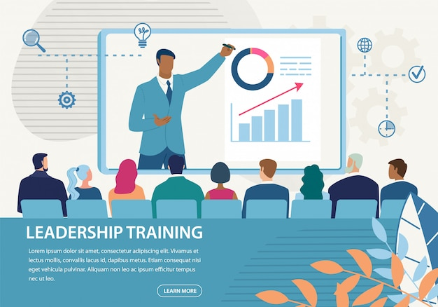 Bannière informative formation en leadership pour inscription Vecteur Premium