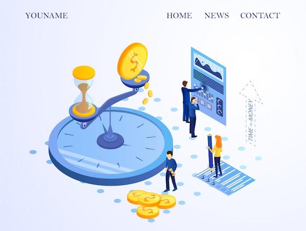 Bannière informative time money cartoon Vecteur Premium