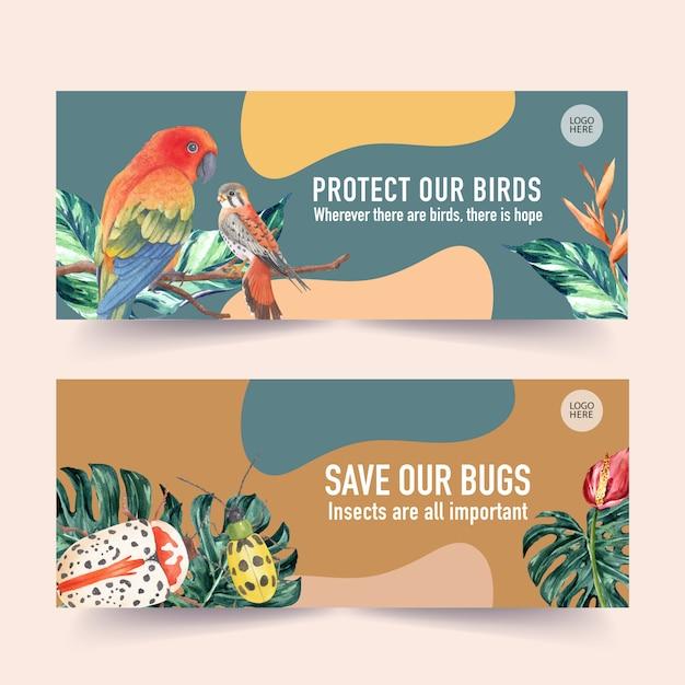 Bannière insecte et oiseau avec conure du soleil, monstera, illustration aquarelle coléoptère. Vecteur gratuit