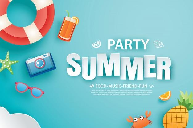 Bannière d'invitation fête estivale avec origami de décoration Vecteur Premium
