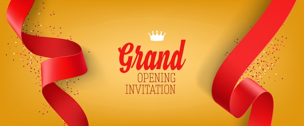 Bannière d'invitation grande ouverture jaune avec ruban rouge Vecteur gratuit