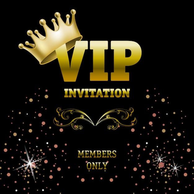 Bannière d'invitation vip avec couronne uniquement Vecteur gratuit