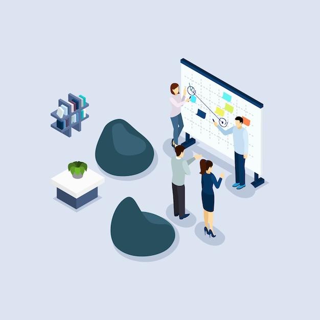 Bannière isométrique de bureau environnement environnement de coworking Vecteur gratuit