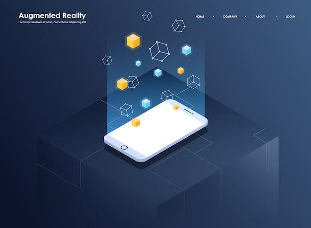 Bannière Isométrique De Concept De Réalité Augmentée. Modèle De Conception Plate Pour Application Mobile Et Site Web. Illustration Isométrique De Réalité Virtuelle. Vecteur Premium