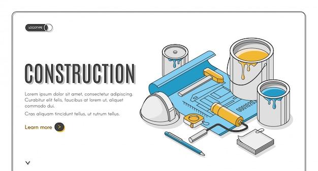 Bannière isométrique du plan de construction Vecteur gratuit