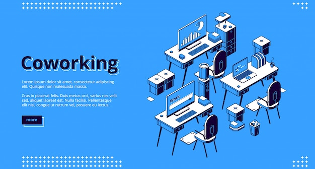 Bannière Isométrique De L'espace De Coworking. Travail En équipe Vecteur gratuit