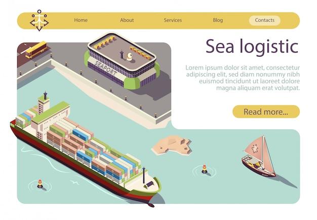 Bannière isométrique de logistique et de transport en mer Vecteur Premium