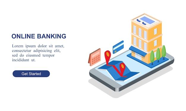 Bannière isométrique moderne de la banque en ligne Vecteur Premium