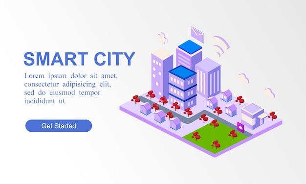 Bannière isométrique moderne de la ville intelligente Vecteur Premium