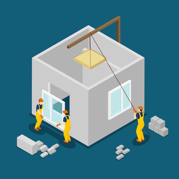 Bannière isométrique pour les ouvriers du bâtiment Vecteur gratuit