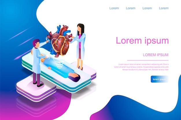 Bannière isométrique réalité augmentée en médecine 3d Vecteur Premium