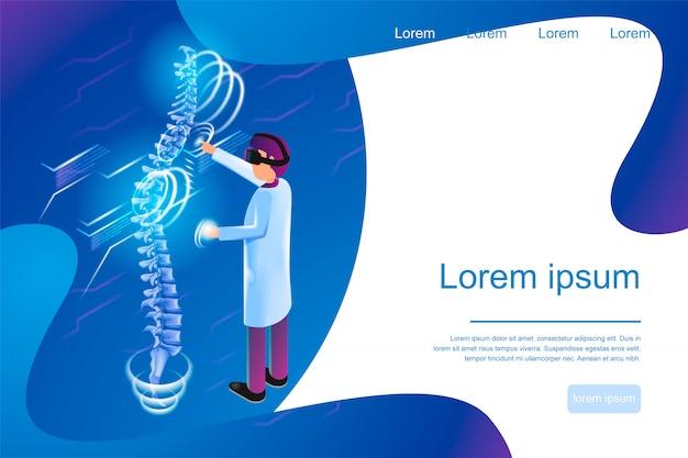 Bannière Isométrique Réalité Virtuelle En Médecine 3d Vecteur Premium