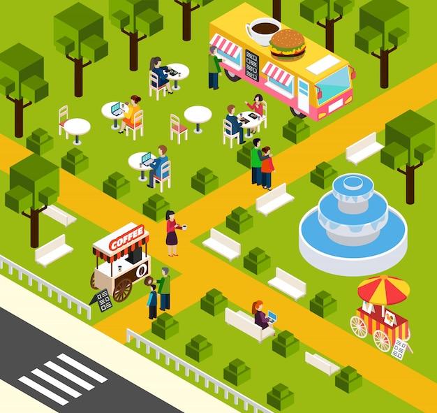 Bannière isométrique street fast food truck Vecteur gratuit