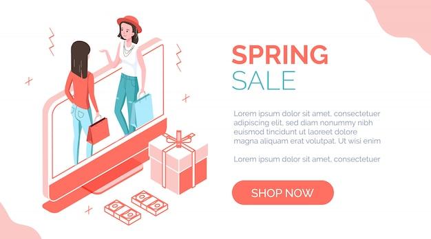 Bannière isométrique de vente de printemps avec des personnes Vecteur Premium