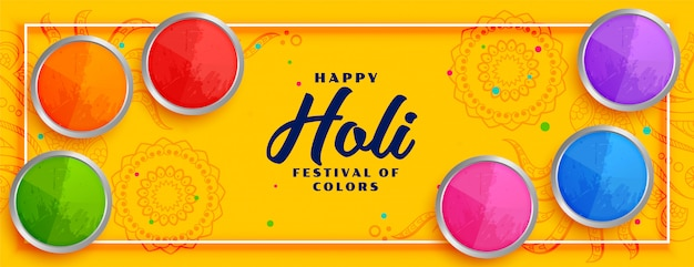 Bannière Jaune Joyeux Festival Coloré Holi Vecteur gratuit