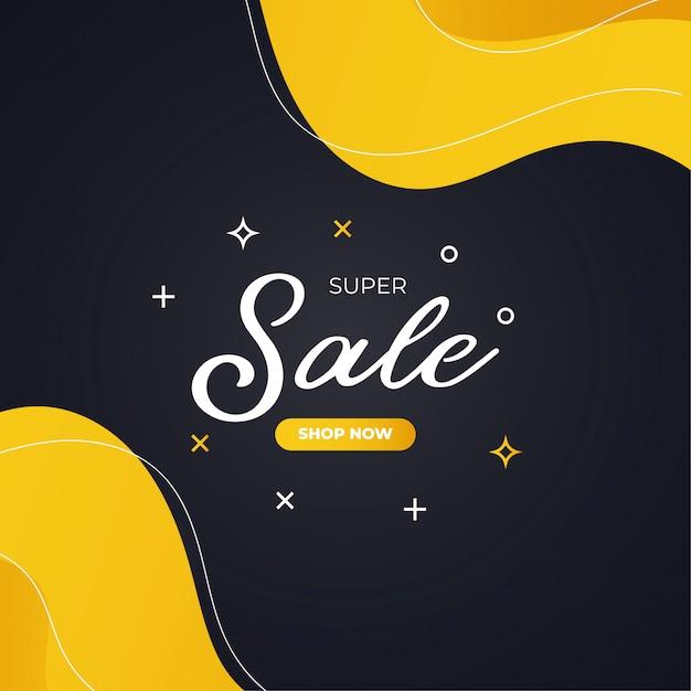 Bannière Jaune Et Noire Super Sale Moderne Vecteur gratuit
